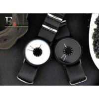 Enmex Férfi Kreatív Karóra - Fekete Szíj - Fehér Számlap