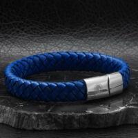HERO - Széles Kék Fonott Bőr Karkötő