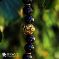 BRAVE - LION  Acél Oroszlános Ónix Ásvány Karkötő - Arany
