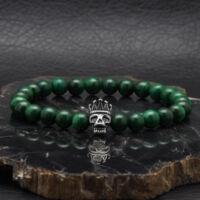 """BRAVE - """"Skull King"""" Zöld Malachit Drágakő Karkötő"""