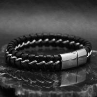 CHAIN – Fekete Bőr Karkötő