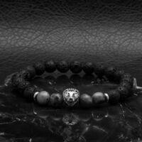 BRAVE - lávakő és labradorit  ásvány gyöngy karkötő - acél oroszlán medál