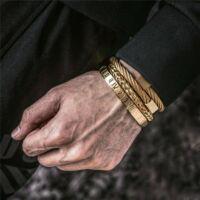 BRAVE - Három Részes Nemesacél Férfi Karkötő Szett - Arany