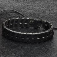 Fekete Bőr Karkötő - Fekete Bőr Fonat Díszítés