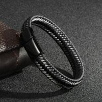 Black Wolf - acélhuzalból és bőrből font karkötő