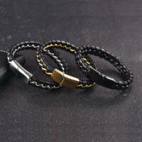 CHAIN – Fekete Bőr Karkötő - Acél Lánc
