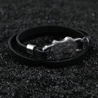 Fekete Bőr Karkötő - Rozsdamentes Acél Pajzs Dísz