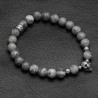 Black Wolf - szürke jáspis ásvány gyöngy karkötő - acél koponya medál