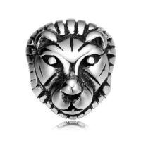 BRAVE -LION howlit ónix ásvány gyöngy karkötő - acél oroszlán medál