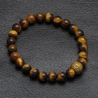 Black Moon - barna tigrisszem féldrágakő gyöngy karkötő - acél medál dísz