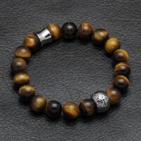 Black Moon - Tigrisszem ásvány gyöngy karkötő - Acél kereszt medál