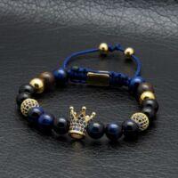 KING - Koronás Kék Tigrisszem Ásvány Karkötő - Arany