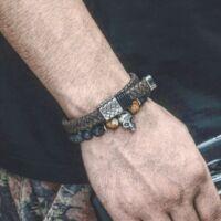 Black Wolf - Barna Bőr Férfi Karkötő - Rozsdamentes Acél Dísz