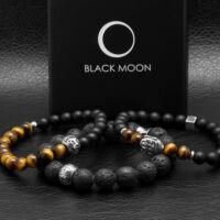 Black Moon - ónix - vörös tigrisszem féldrágakő karkötő -fekete cirkónia köves dísz