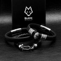 Black Wolf - Fekete Széles Fonott Bőr Férfi Karkötő - Acél Pikk Koponya Medál