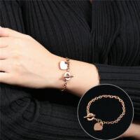 Elegáns Rosegold Acél Női Karlánc - Szív medál