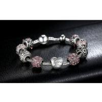 Női kristály charm karkötő - Ezüst - Rózsaszín