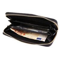 Elegáns fekete műbőr női pénztárca