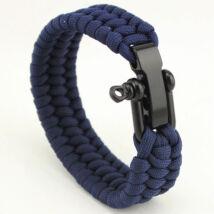 Kék Paracord Karkötő - Fekete Zár