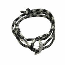 Fekete Fehér Textil Horgony Karkötő - Minimalista Stílus - Ezüst Színű Dísz