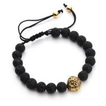 Fekete Lávakő Gyöngy Karkötő Arany Oroszlánfej Díszítéssel - Durva Csiszolás - Textil Szíj