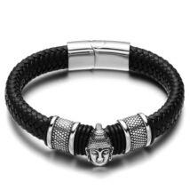Black Wolf - Fekete Széles Fonott Bőr Férfi Karkötő - Acél Buddha Medál