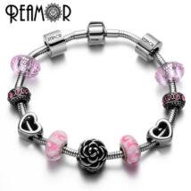 REAMOR – Nemesacél Charm Karkörő Rózsaszín Murano Üveg Gyöngy