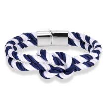 Elegáns Textil Karkötő - Kék - Fehér