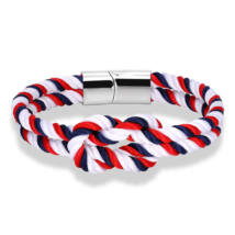 Elegáns Textil Karkötő - Piros - Fehér - Kék