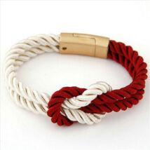 Elegáns Unisex Textil Karkötő - Piros - Fehér