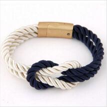 Elegáns Unisex Textil Karkötő - Kék - Fehér