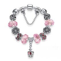 Női kristály charm karkötő - Ezüst - Rózsaszín - Korona Dísz