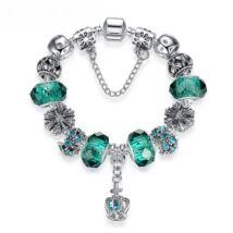 Női kristály charm karkötő - Ezüst - Tengerzöld
