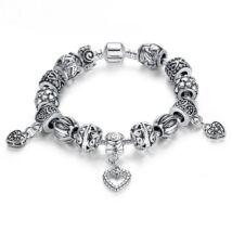 Női kristály karkötő - Szív medál