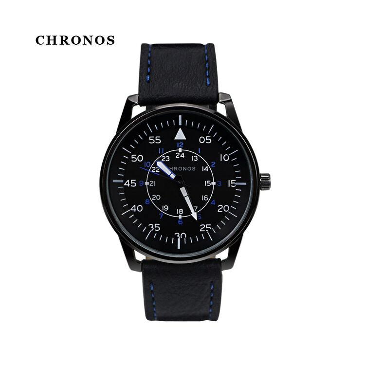 Chronos Fekete Bőrszíjas Férfi Karóra - Navy Design