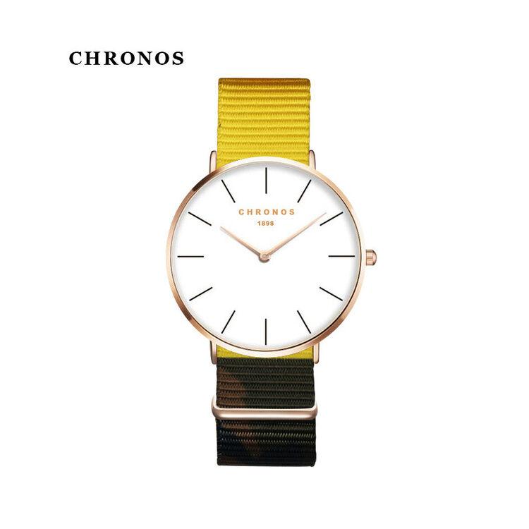 Chronos Sárga Szövetszíjas Karóra - Rosegold Tok
