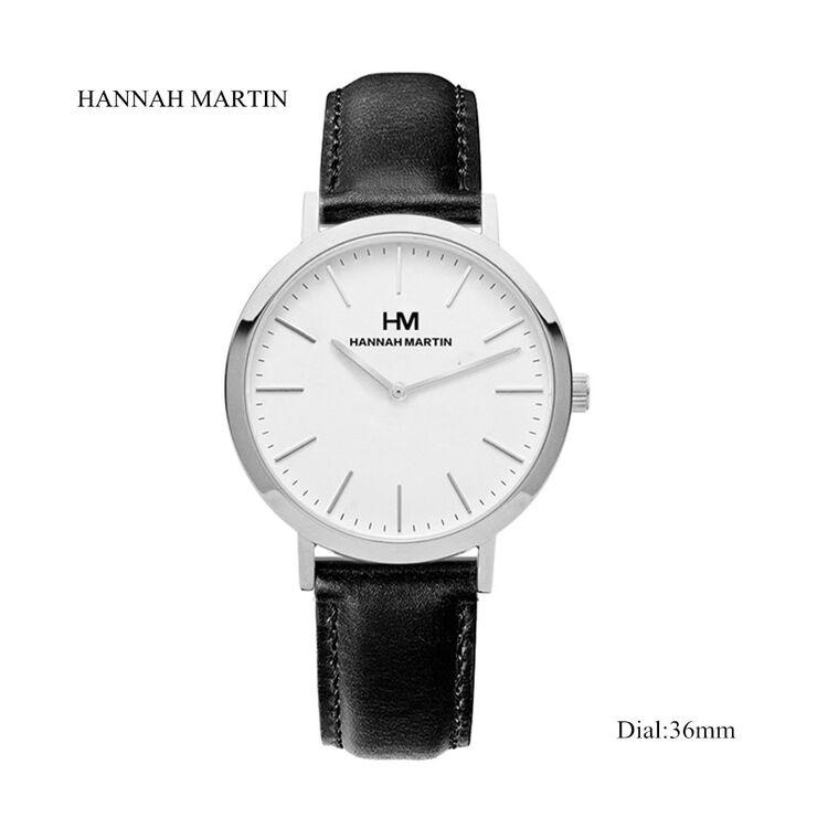 Hannah Martin Női Karóra - Fekete - Bőr Szíj - Fehér Számlap