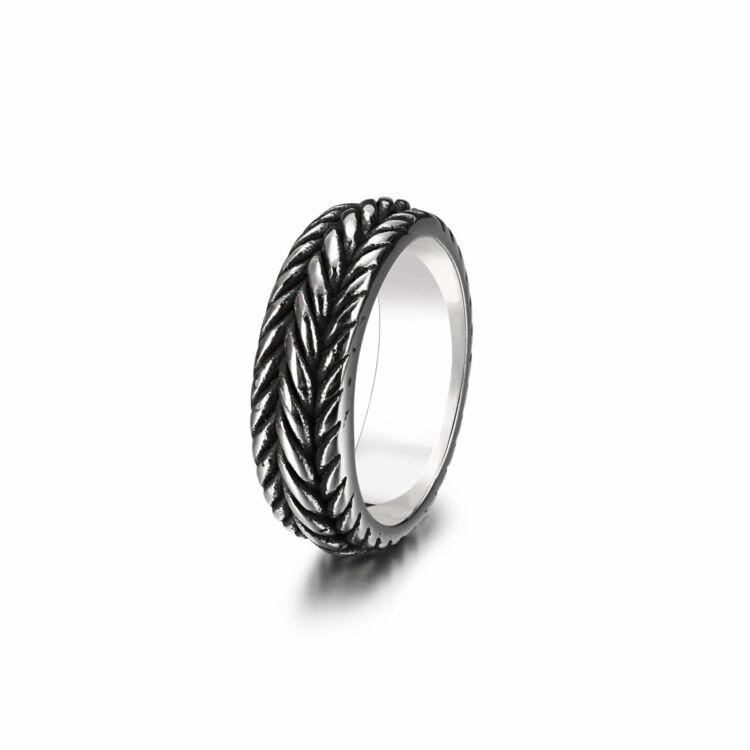 Acél Férfi Gyűrű - Lánc Motívummal