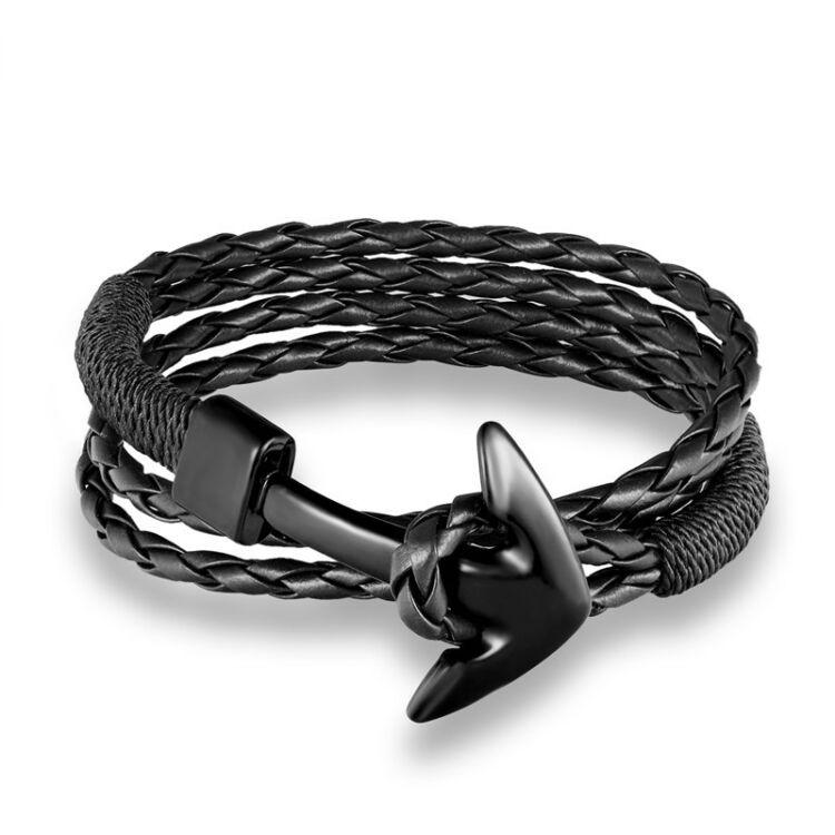 Black Wolf - Fekete Fonott Bőr Horgony Karkötő