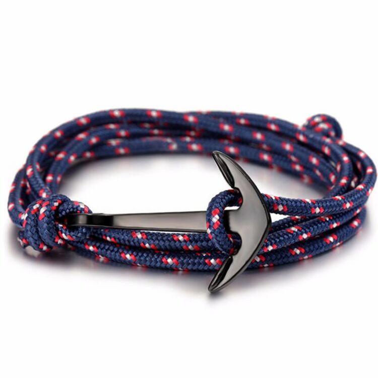 Horgony Karkötő Fekete Dísszel - Kék/Piros Textil