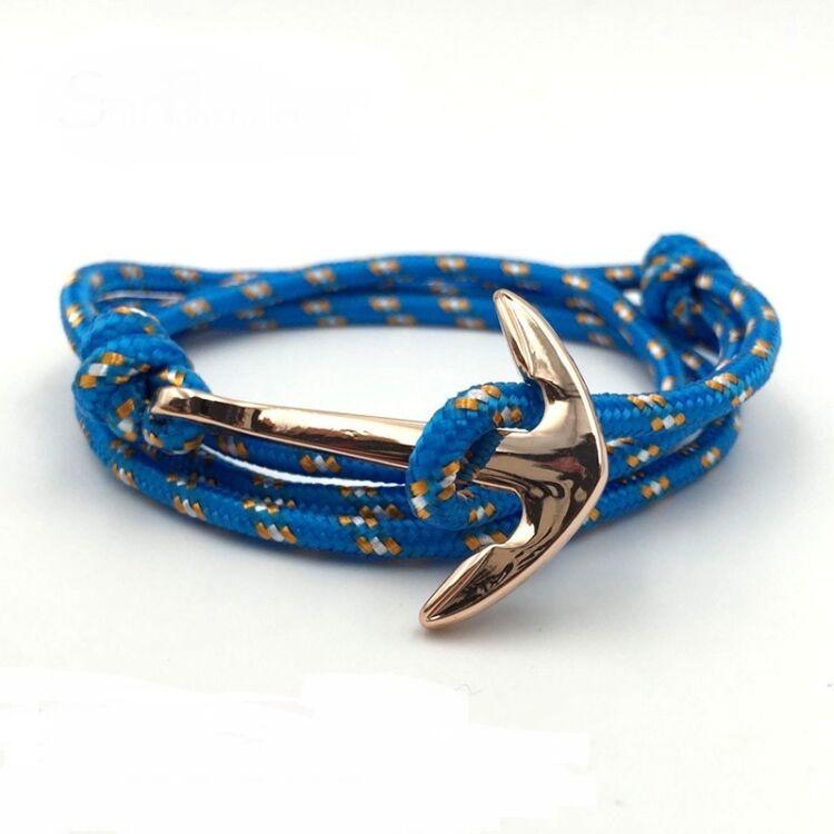 Kék Horgony Karkötő - Textil - Rosegold Dísz