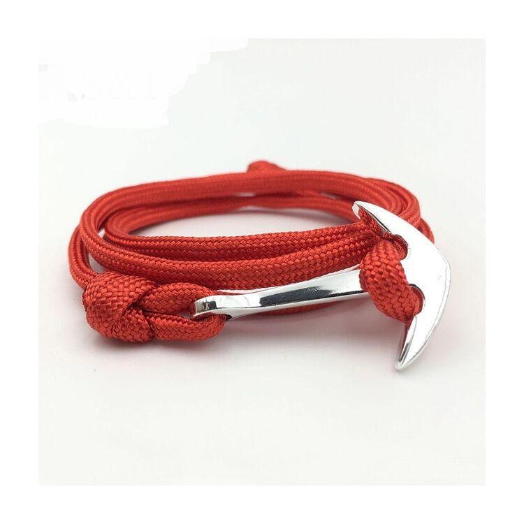 Piros Horgony Karkötő - Vastag Textil - Ezüst Színű Dísz