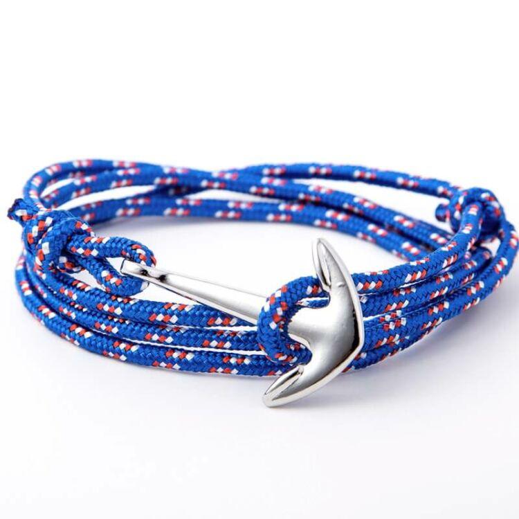 Horgony Karkötő Ezüst Színű Dísszel - Kék