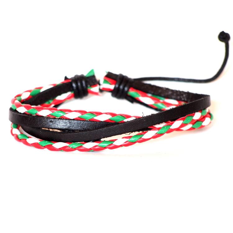 Fekete Bőr Karkötő - Piros Fehér Zöld Dísz - 4 Szál