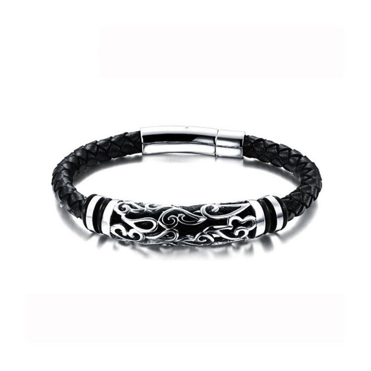 Black Wolf - Bőr karkötő nonfiguratív acél medál dísszel