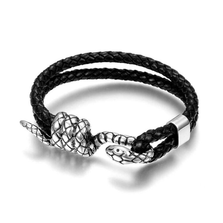 Black Wolf - Dupla Soros Fekete Bőr Karkötő - Nemesacél Kígyó Medál