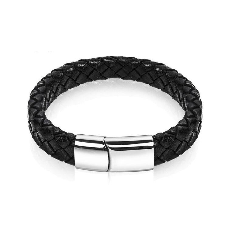 Black Wolf - klasszikus fekete bőr karkötő