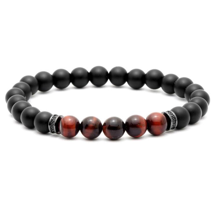 Ónix - vörös tigrisszem féldrágakő karkötő -fekete cirkónia köves dísz