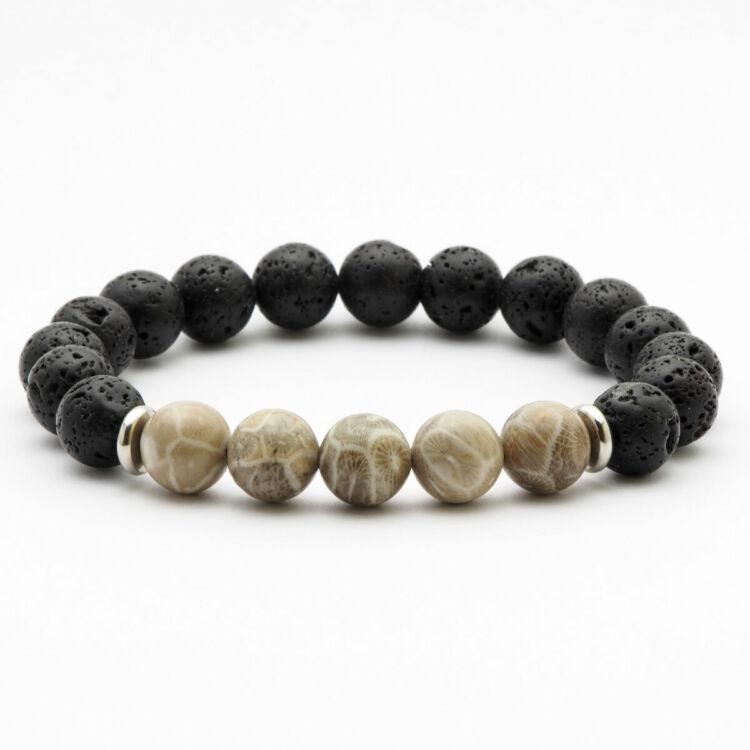 Black Wolf - Őskövület - Lávakő Gyöngy Karkötő