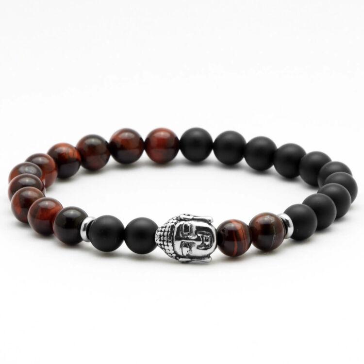 Black Moon - Matt fekete ónix és macskaszem gyöngy karkötő - Acél Buddha medál